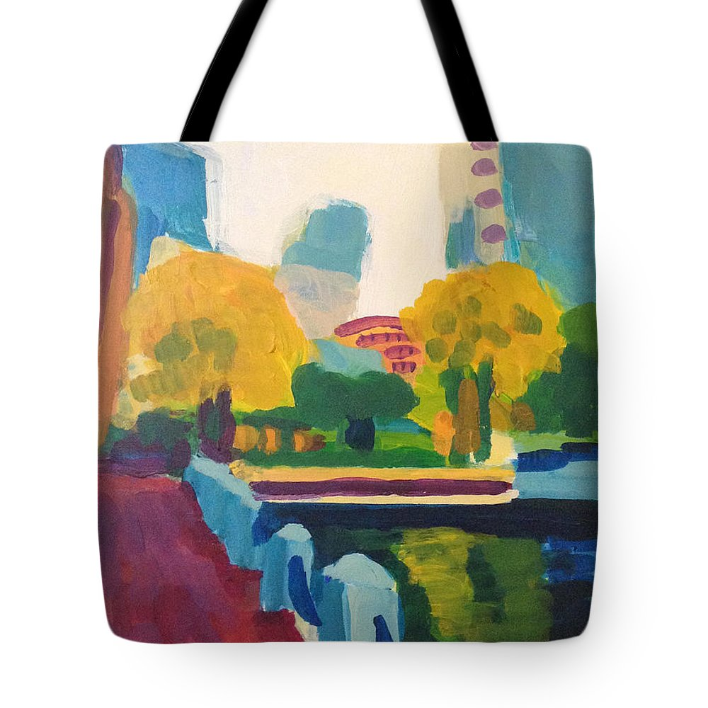 Cityscape Tote Bag featuring the painting Waterfront Park, Boston by Amy Hamlet