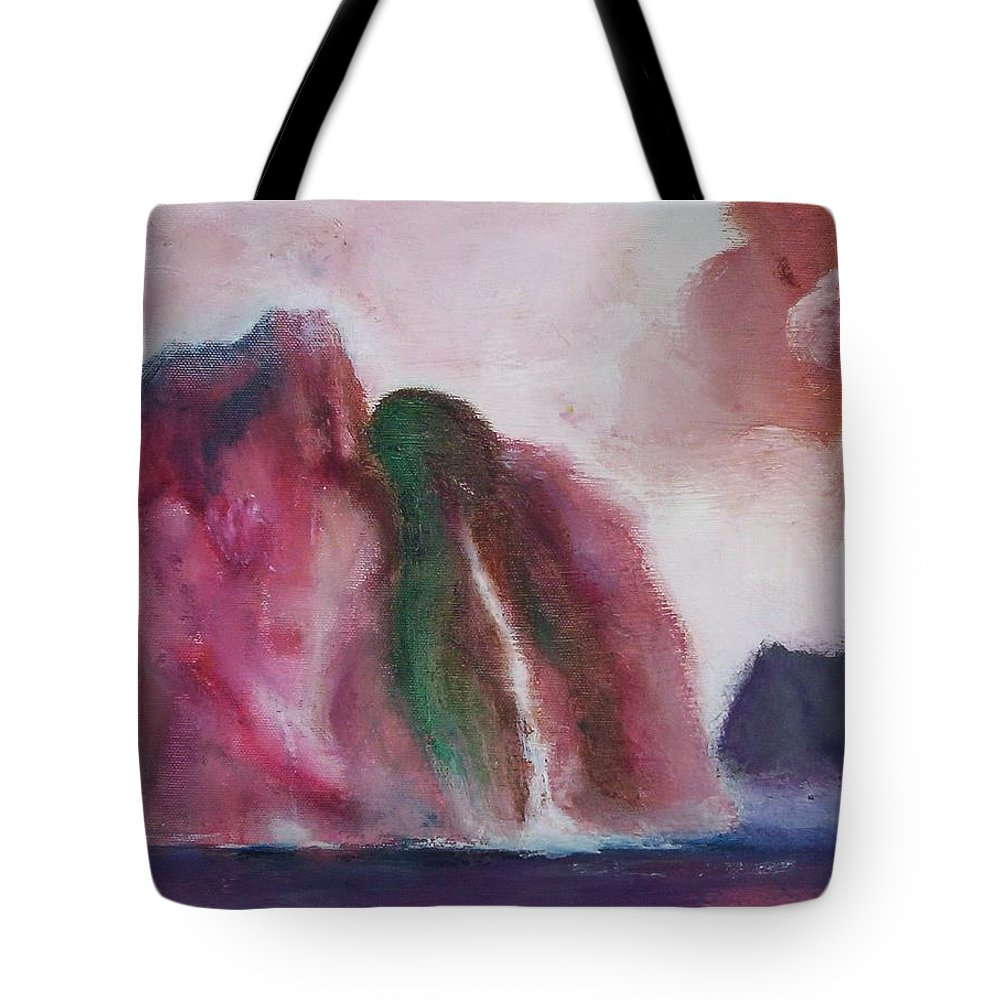 Abstract Painting Tote Bag featuring the painting Waterfull by Suzanne Udell Levinger