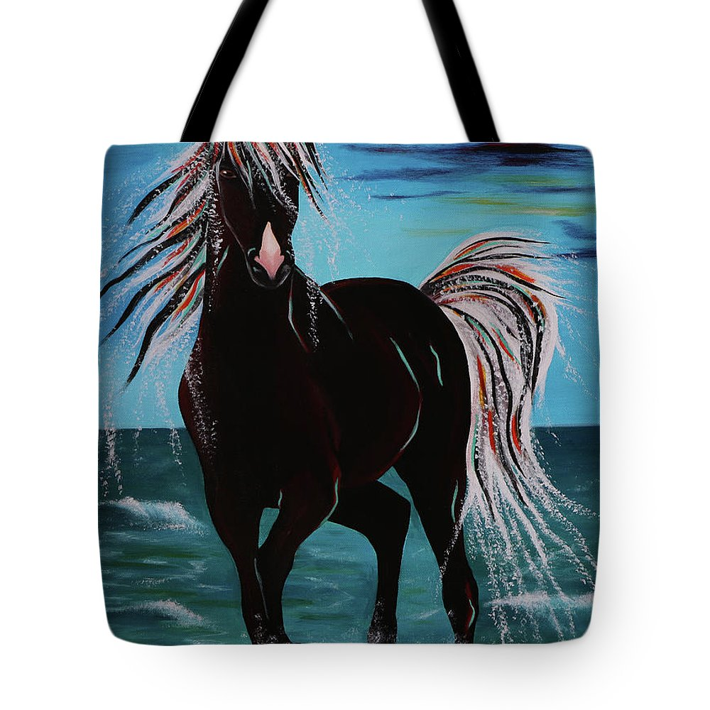 Horse Tote Bag featuring the painting Waterhorse by Nicole Paquette
