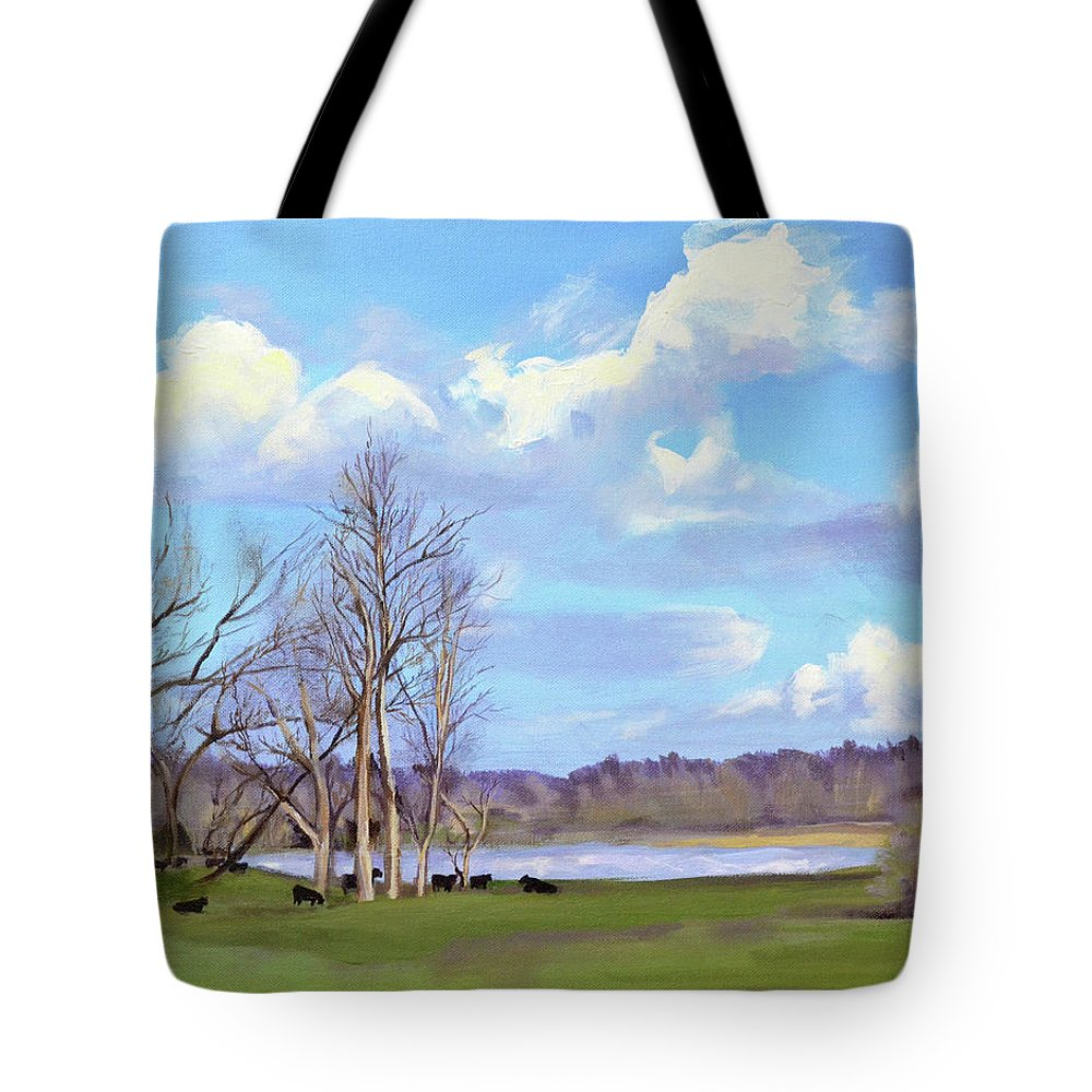 Cows Tote Bag featuring the painting Watering Hole with Cows by Mary Chant