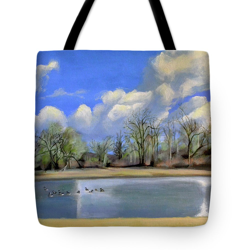 Vancouver Tote Bag featuring the painting Watering Hole with Geese by Mary Chant
