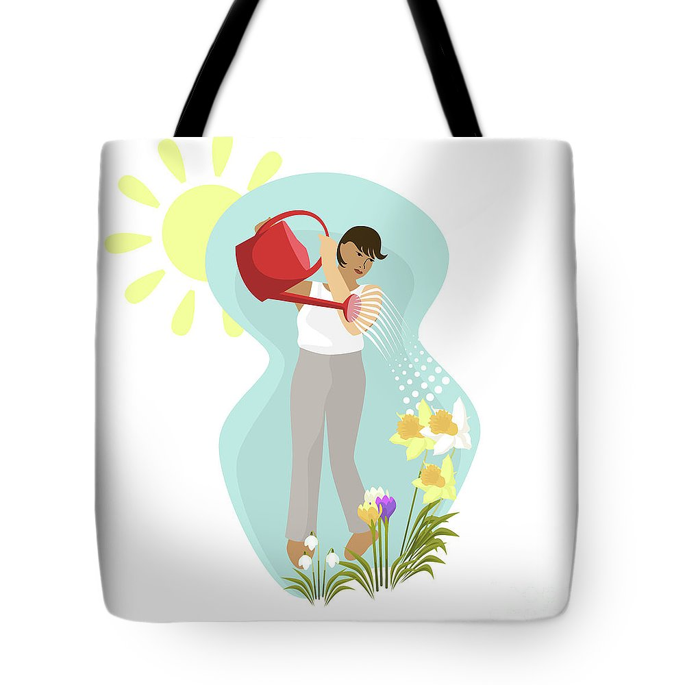 Tulips Tote Bag featuring the digital art Watering Plants by Claire Huntley