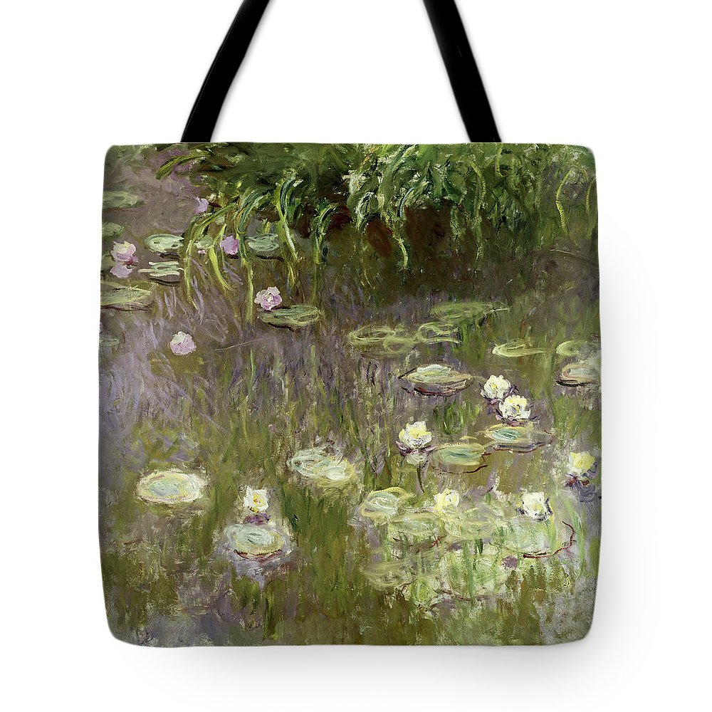 Waterlilies At Midday Tote Bag featuring the painting Waterlilies At Midday by Claude Monet