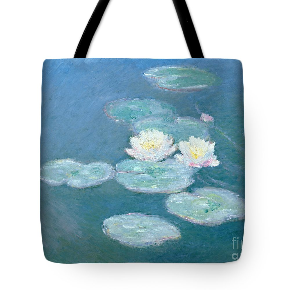 Waterlilies Tote Bag featuring the painting Waterlilies Evening by Claude Monet