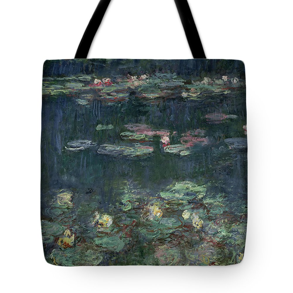 Monet Tote Bag featuring the painting Waterlilies Green Reflections by Claude Monet