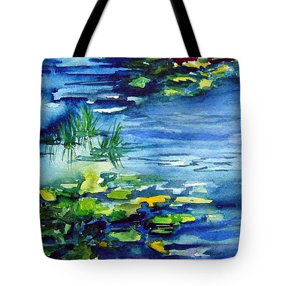 Waterlilies Tote Bag featuring the painting Waterlilies by Joanne Smoley