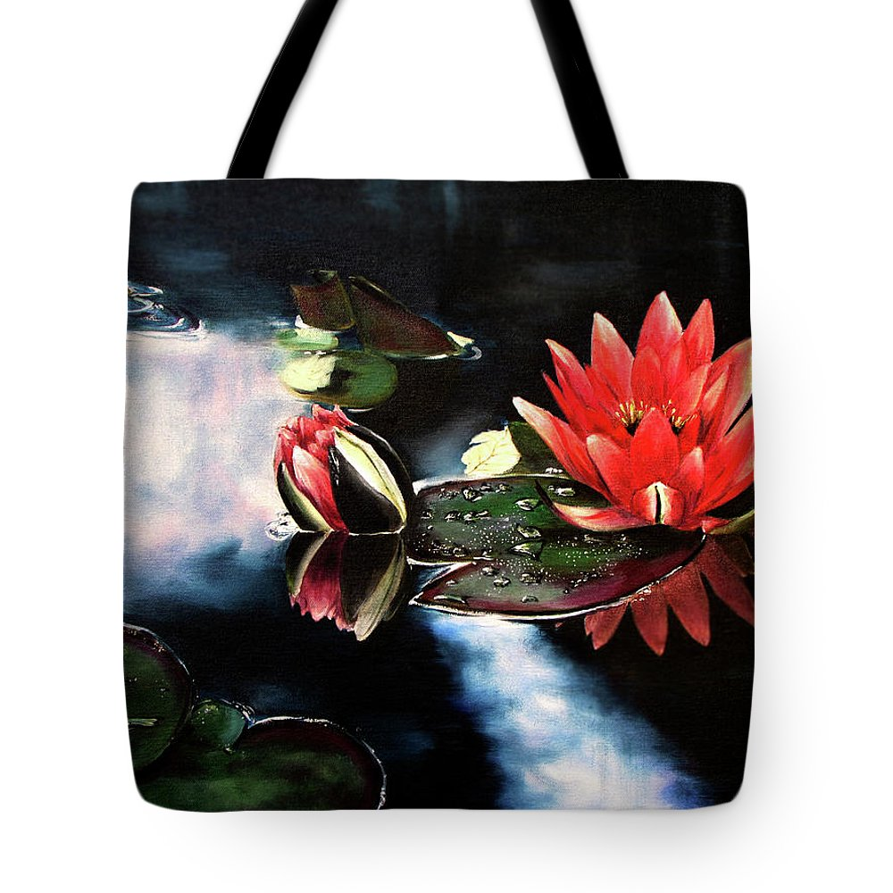 Pink Tote Bag featuring the painting Waterlilly by Carole Robare
