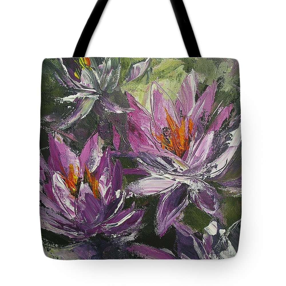 Flower Paintings Tote Bag featuring the painting Waterlilly by Chris Hobel