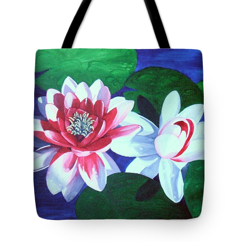 Water Lilies Tote Bag featuring the painting Waterlily Dance by Brandy House