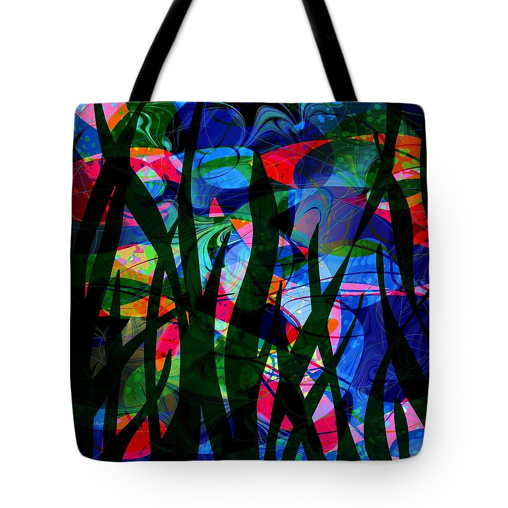Abstract Tote Bag featuring the digital art Watermelon and a Swim by William Russell Nowicki