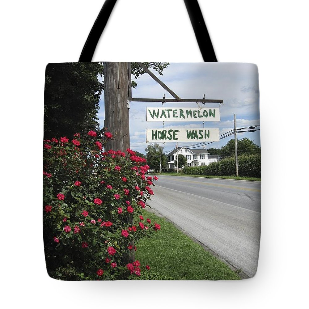 Amish Tote Bag featuring the photograph Watermelon Horse Wash by Tana Reiff