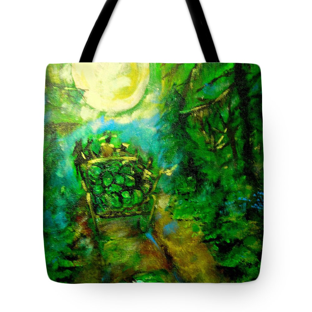Watermelon Wagon Moon Tote Bag featuring the painting Watermelon Wagon Moon by Seth Weaver