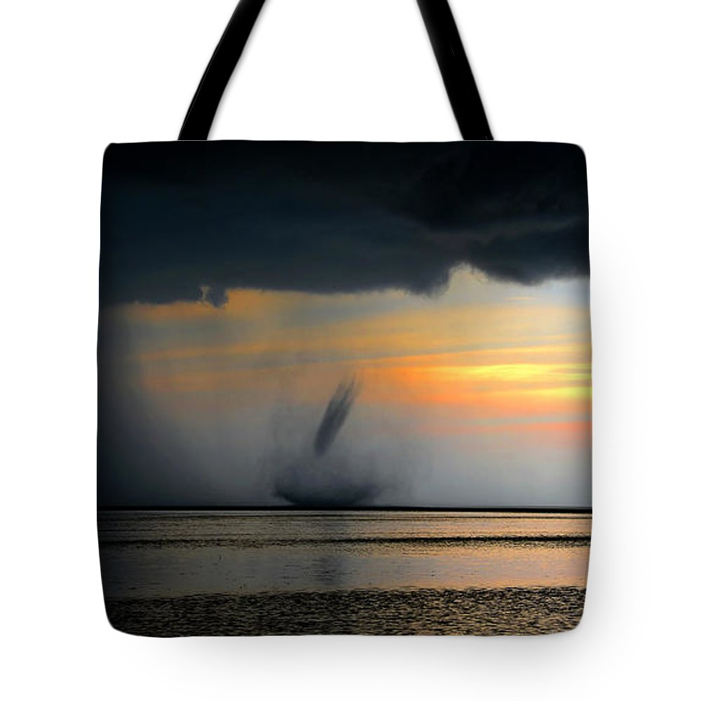 Waterspout Tote Bag featuring the photograph Waterspout Panoramic by David Lee Thompson