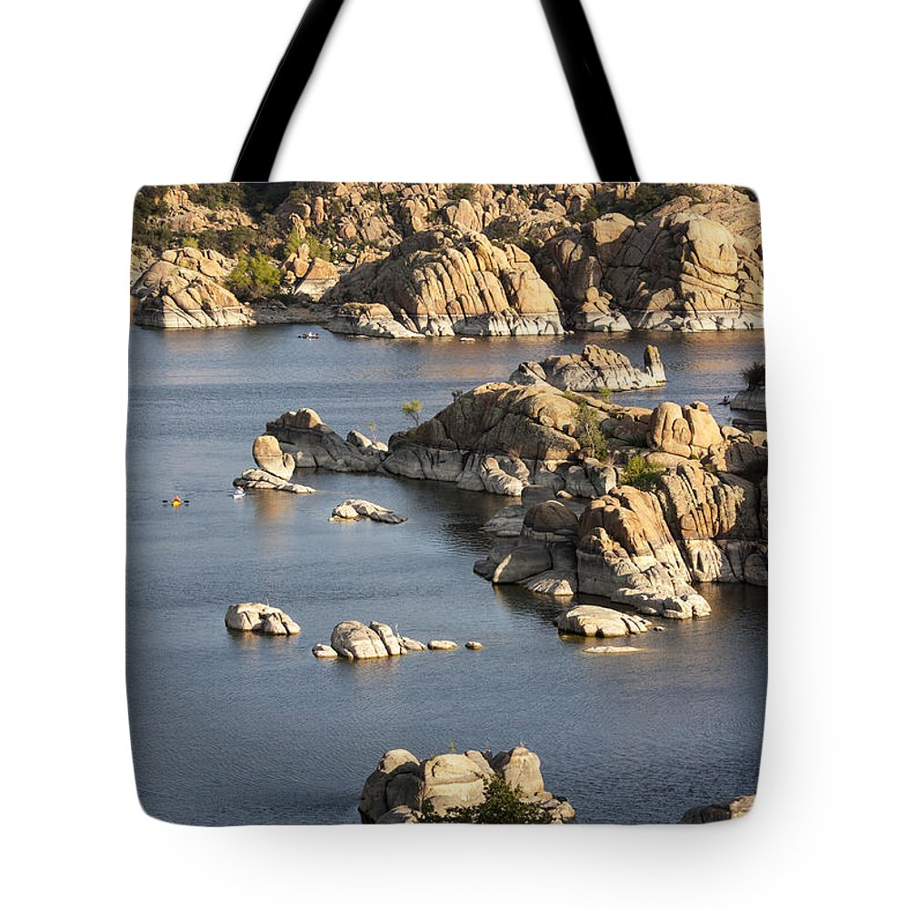 Watson Lake Tote Bag featuring the photograph Watson Lake Adventures by Jacki Smoldon