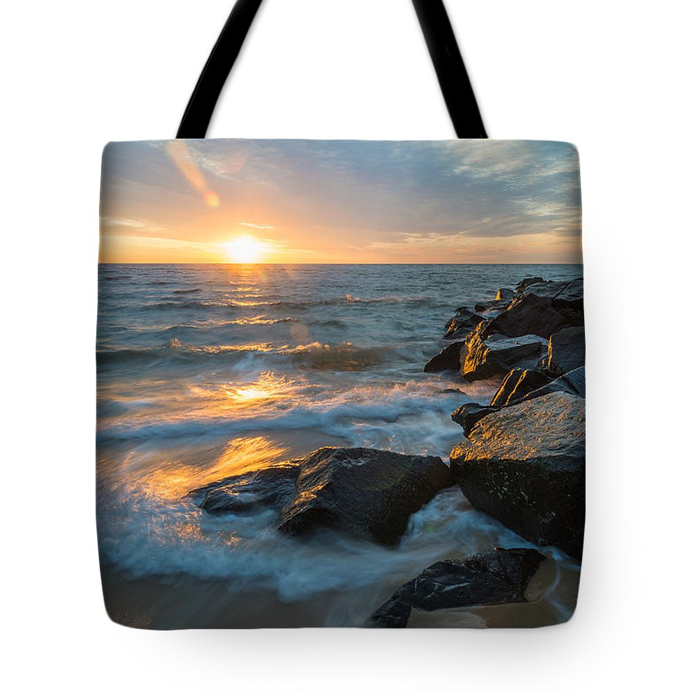 New Jersey Tote Bag featuring the photograph Wave Break by Kristopher Schoenleber