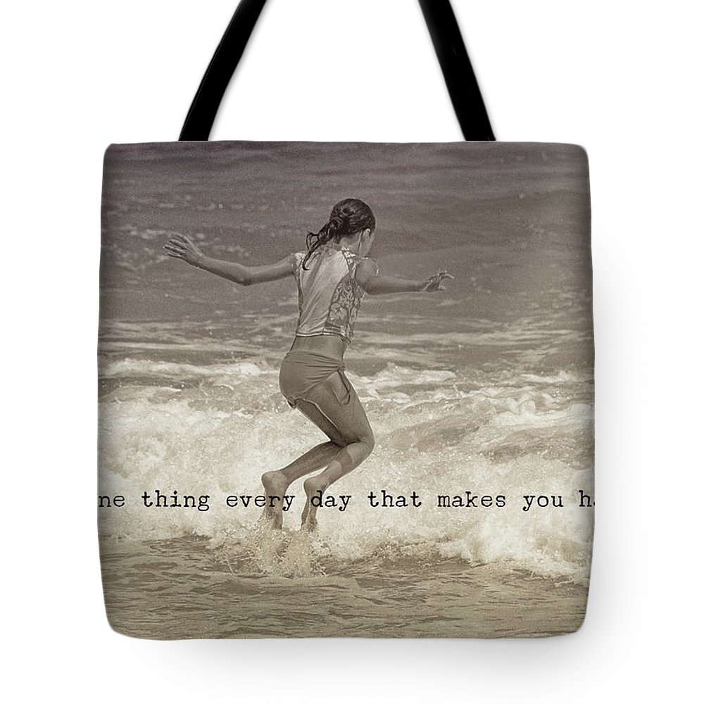 Beach Tote Bag featuring the photograph Wave Jump Quote by JAMART Photography