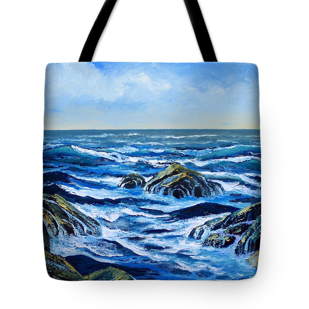 Ocean Tote Bag featuring the painting Waves And Foam by Frank Wilson