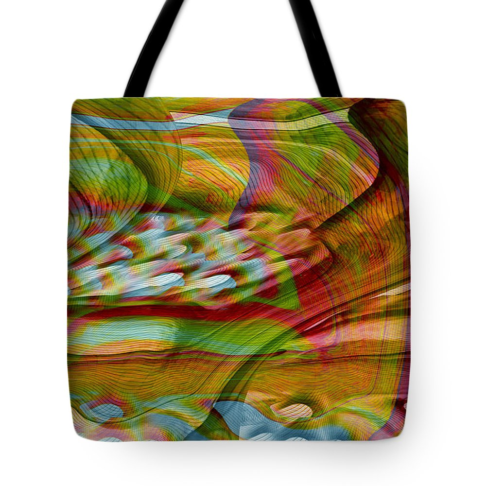 Abstracts Tote Bag featuring the digital art Waves And Patterns by Linda Sannuti