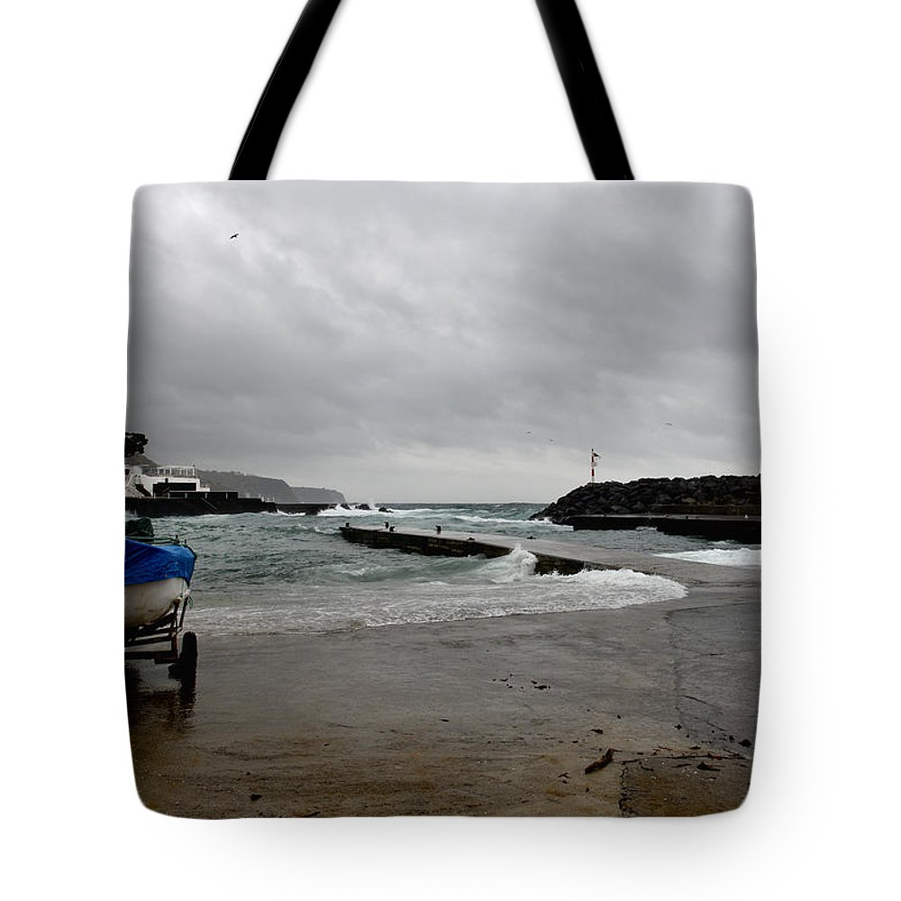Action Tote Bag featuring the photograph Waves Azores-033 by Joseph Amaral