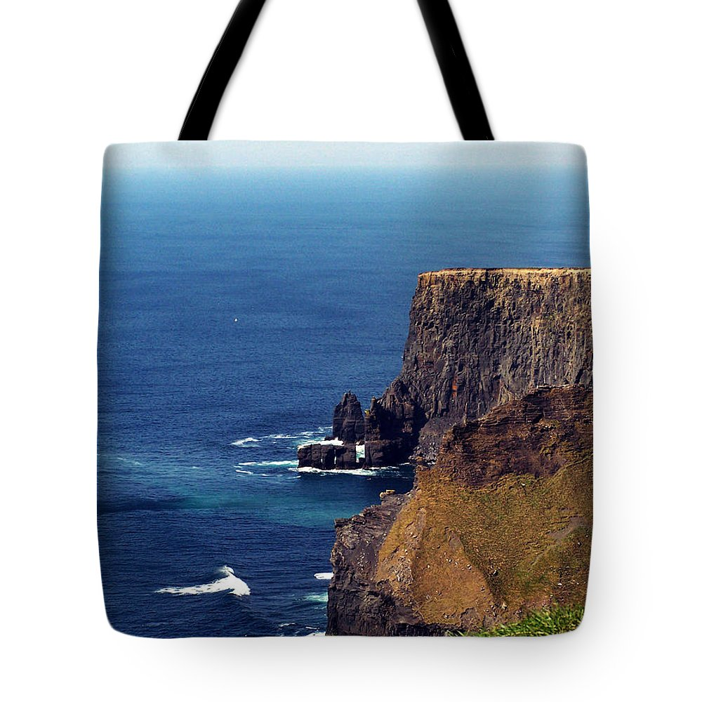 Irish Tote Bag featuring the photograph Waves Crashing At Cliffs Of Moher Ireland by Teresa Mucha