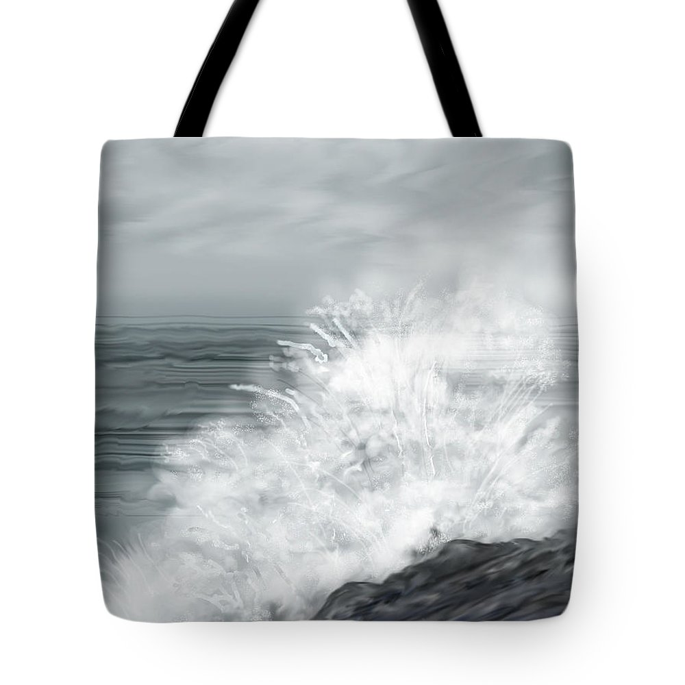 Seascape Tote Bag featuring the painting Waves Crashing The Rocks In Ireland by Anne Norskog