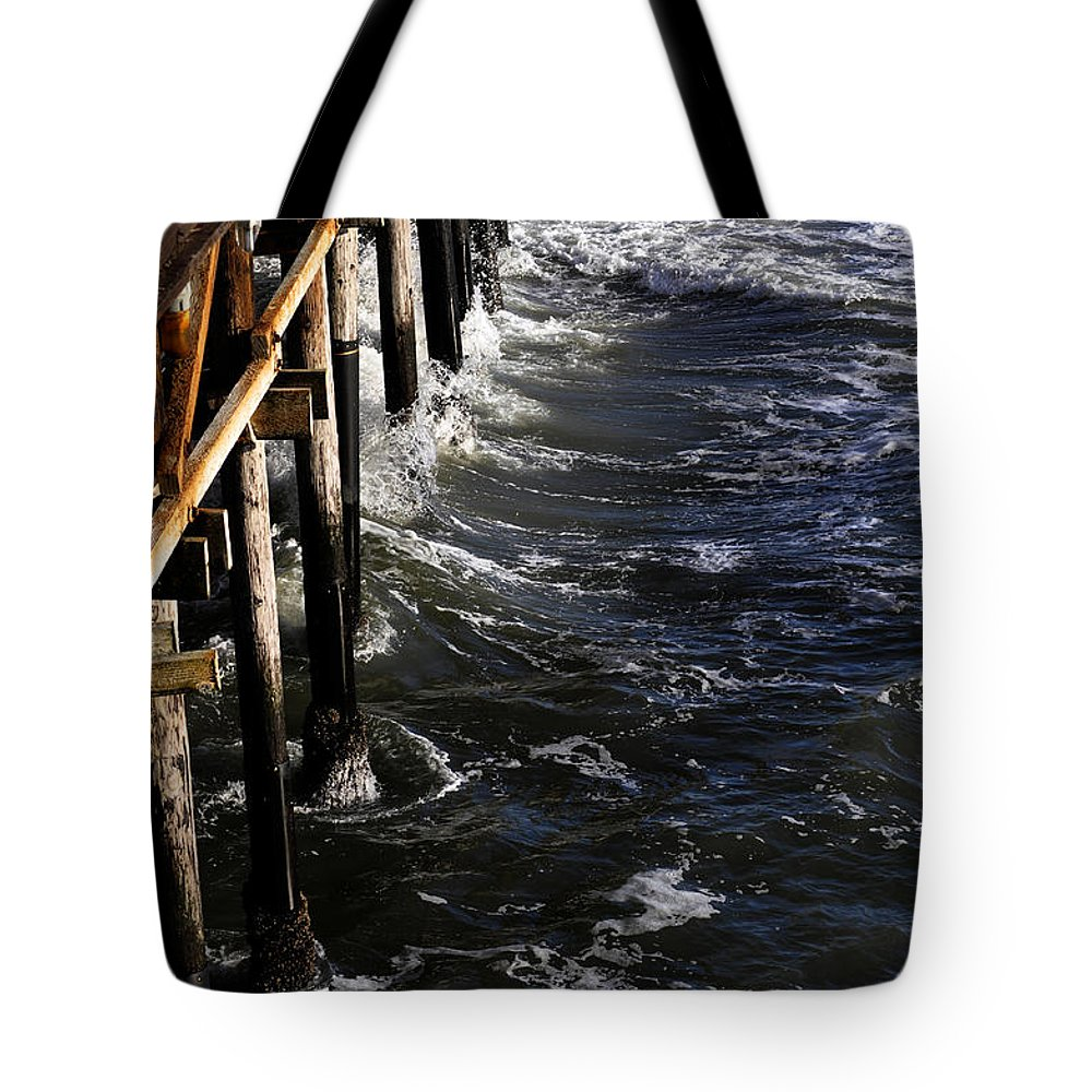 Clay Tote Bag featuring the photograph Waves Hitting Santa Monica Pier by Clayton Bruster