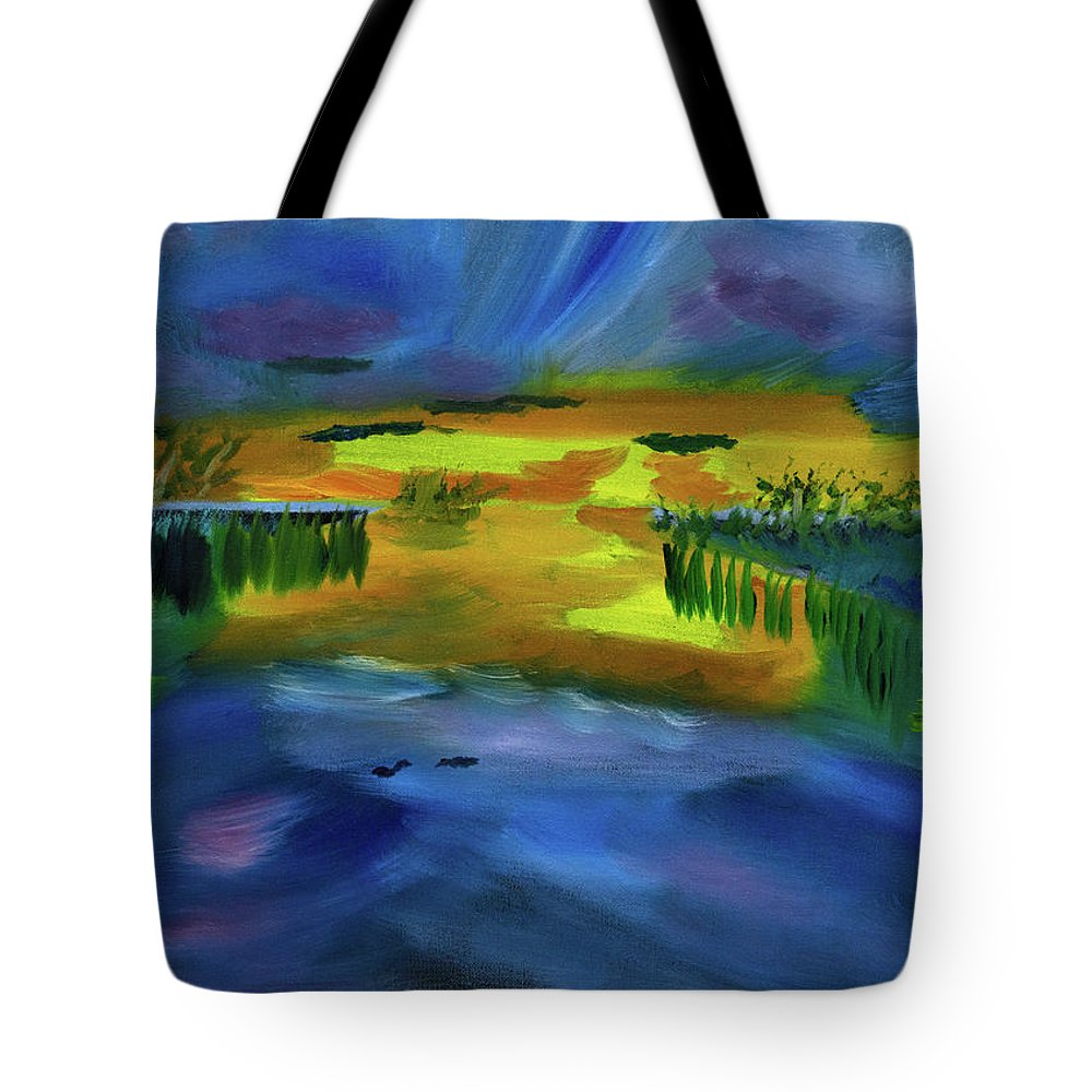 Sunset Tote Bag featuring the painting Waves Of Change by Meryl Goudey