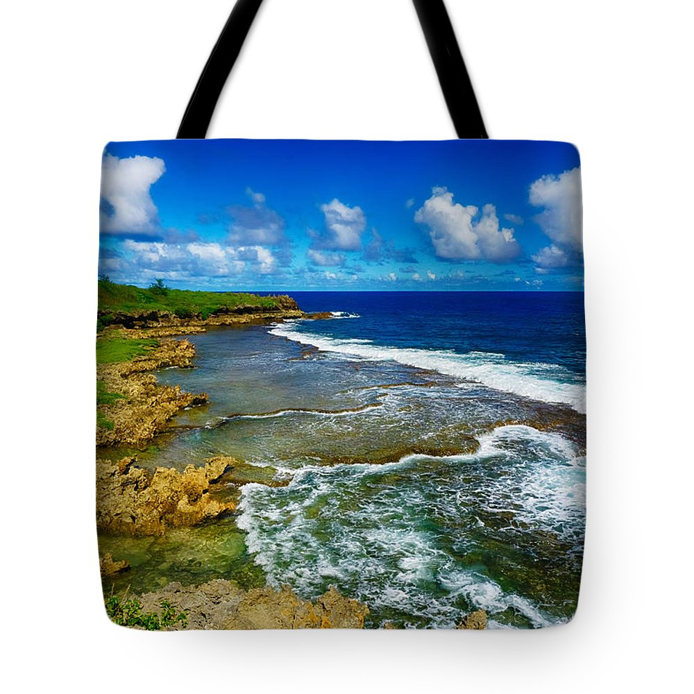 Pristine Tote Bag featuring the photograph Waves of Inarajan by Amanda Jones