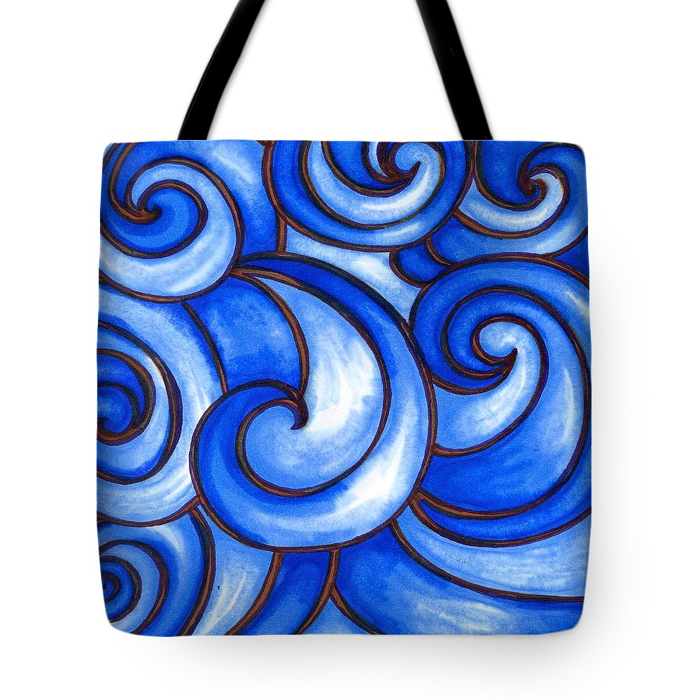 Water Tote Bag featuring the painting Waves of Mercy by Vonda Drees