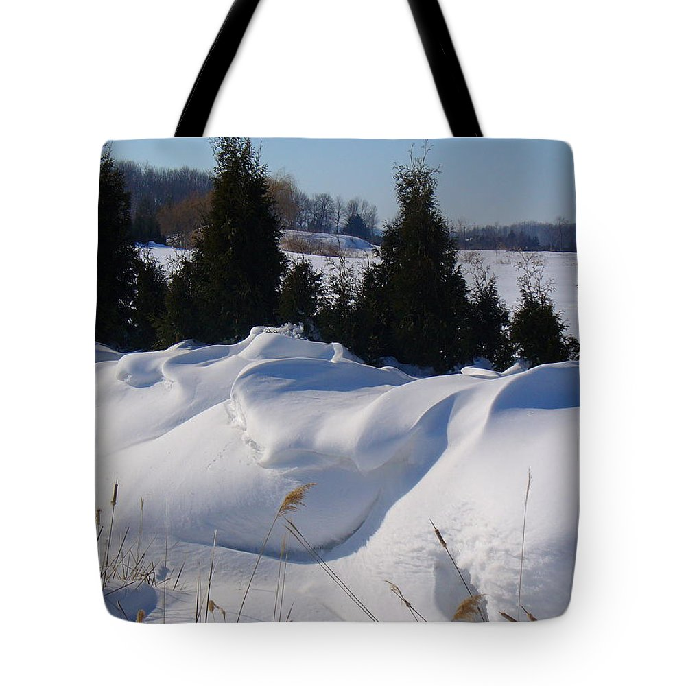 Snow Tote Bag featuring the photograph Waves Of Snow by Peggy King