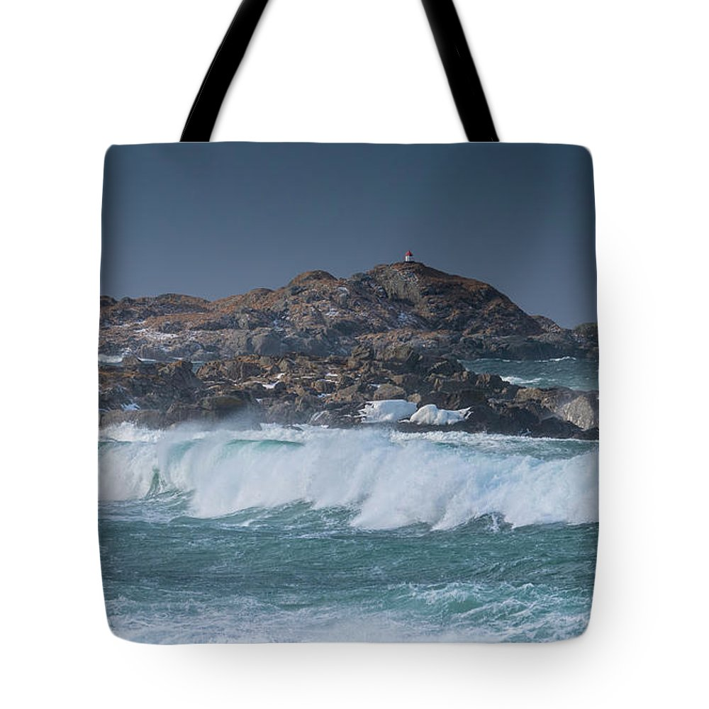 Norway Tote Bag featuring the photograph Waves On A Cloudy Day by Adrian Salcu