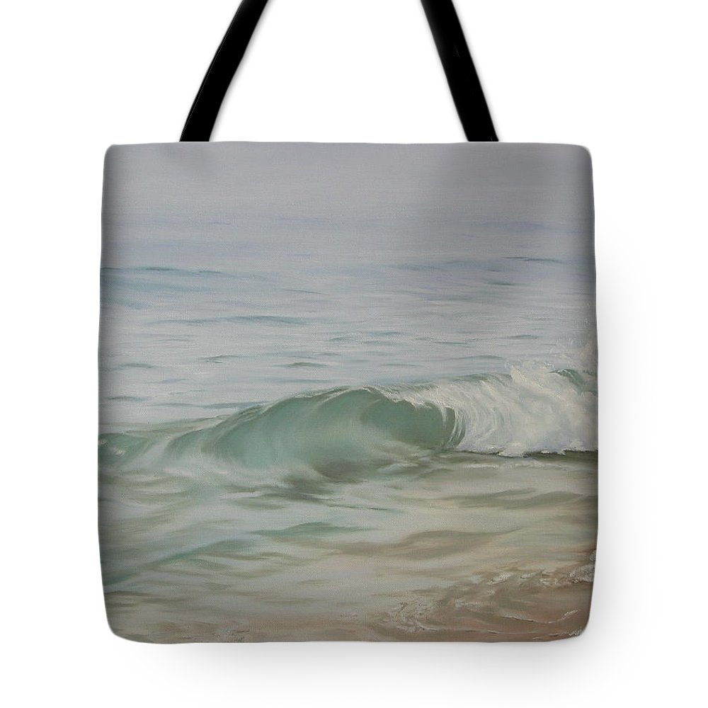 Seascape Tote Bag featuring the painting Waves Out Of The Fog by Lea Novak