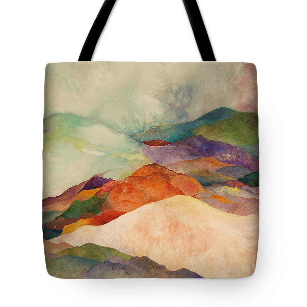 Watercolor Tote Bag featuring the painting Waves by Peggy Guichu