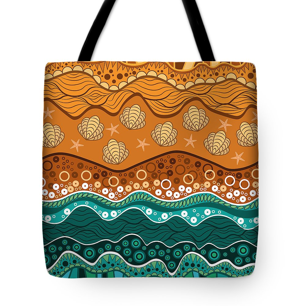 Water Tote Bag featuring the digital art Waves by Veronica Kusjen