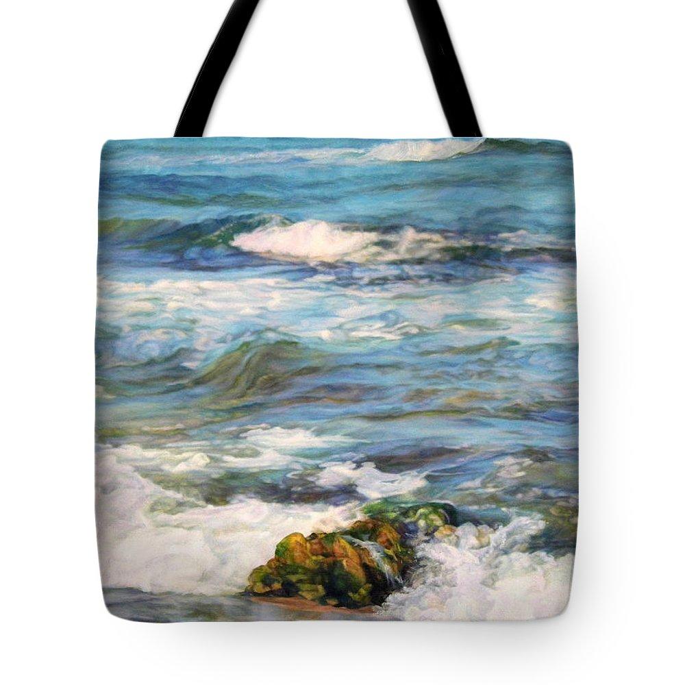 Waves Tote Bag featuring the painting Sea Waves ... by Maya Bukhina