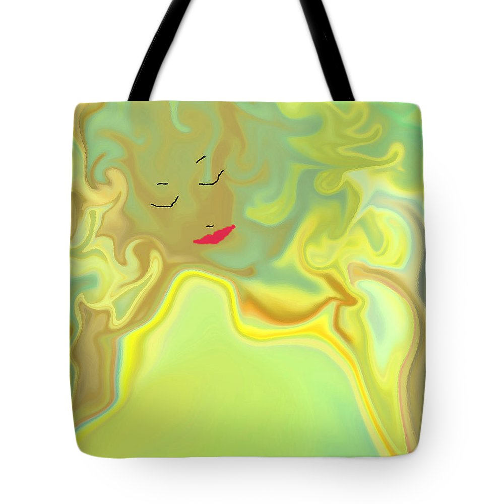 Tote Bag featuring the digital art Wavy Hair And Red Lips by Ruth Palmer