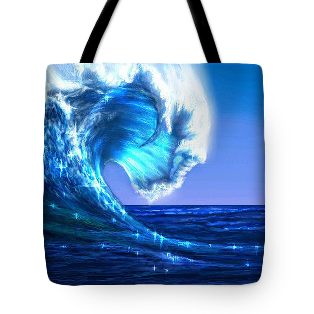 Wave Tote Bag featuring the digital art Wawawave by Ellen Dawson
