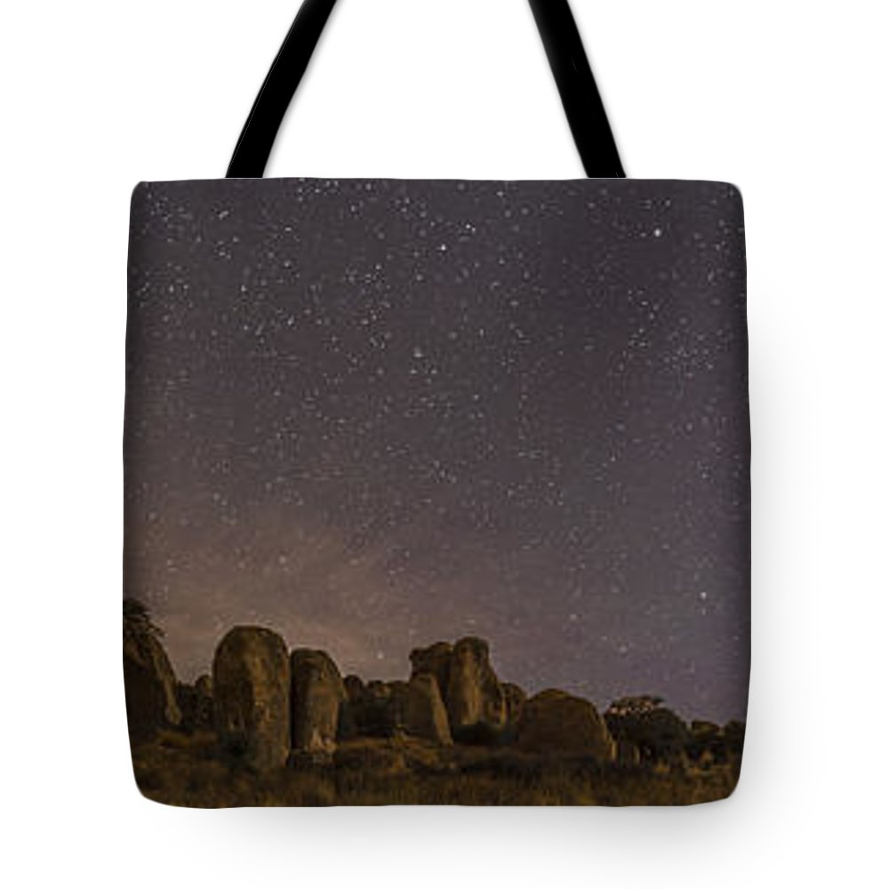 Christmas Eve Tote Bag featuring the photograph Waxing Moon Above The City Of Rocks by Alan Dyer