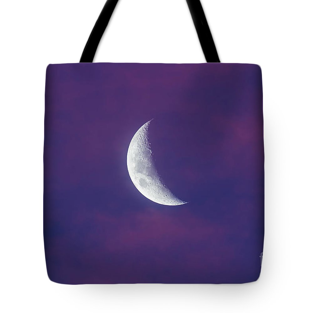 Australia Tote Bag featuring the photograph Waxing Moon In Pink Clouds by Alan Dyer