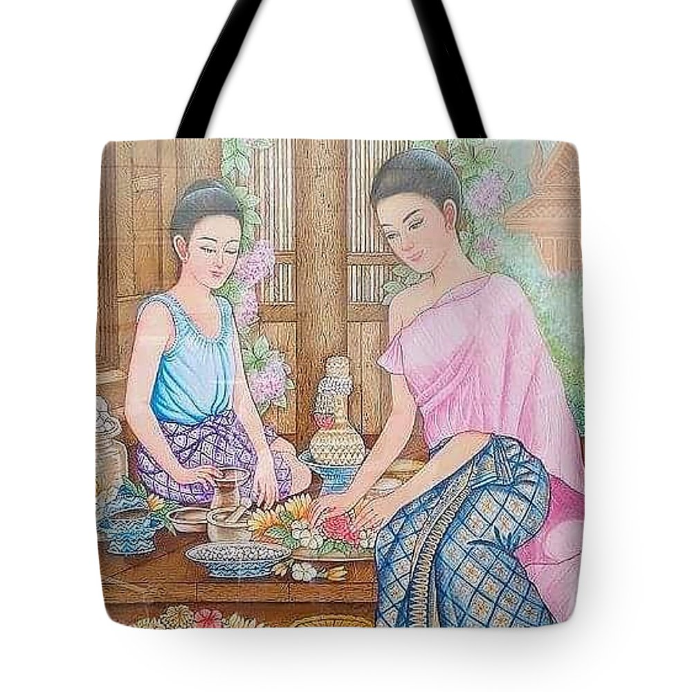 Thailand Tote Bag featuring the painting Way Of Thailand by Piman Wongsangnoi
