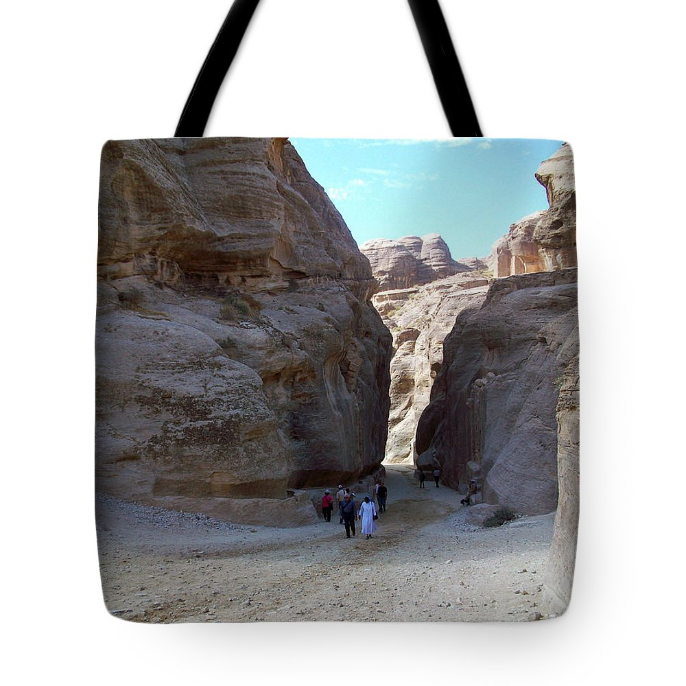 Petra Tote Bag featuring the photograph Way To Petra by Munir Alawi