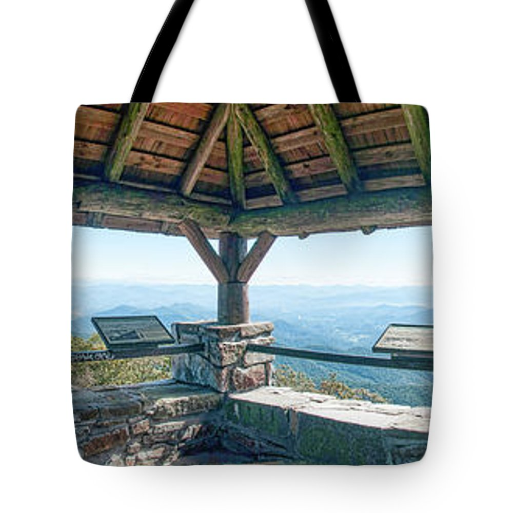 North Carolina Tote Bag featuring the photograph Wayah Bald Observation Tower - Macon County, North Carolina by Timothy Wildey