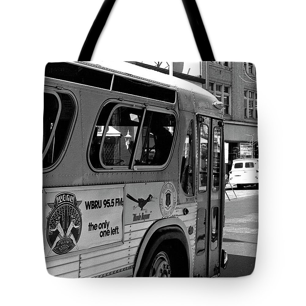 Wbru Tote Bag featuring the photograph Wbru-fm Bus Sign, 1975 by Jeremy Butler