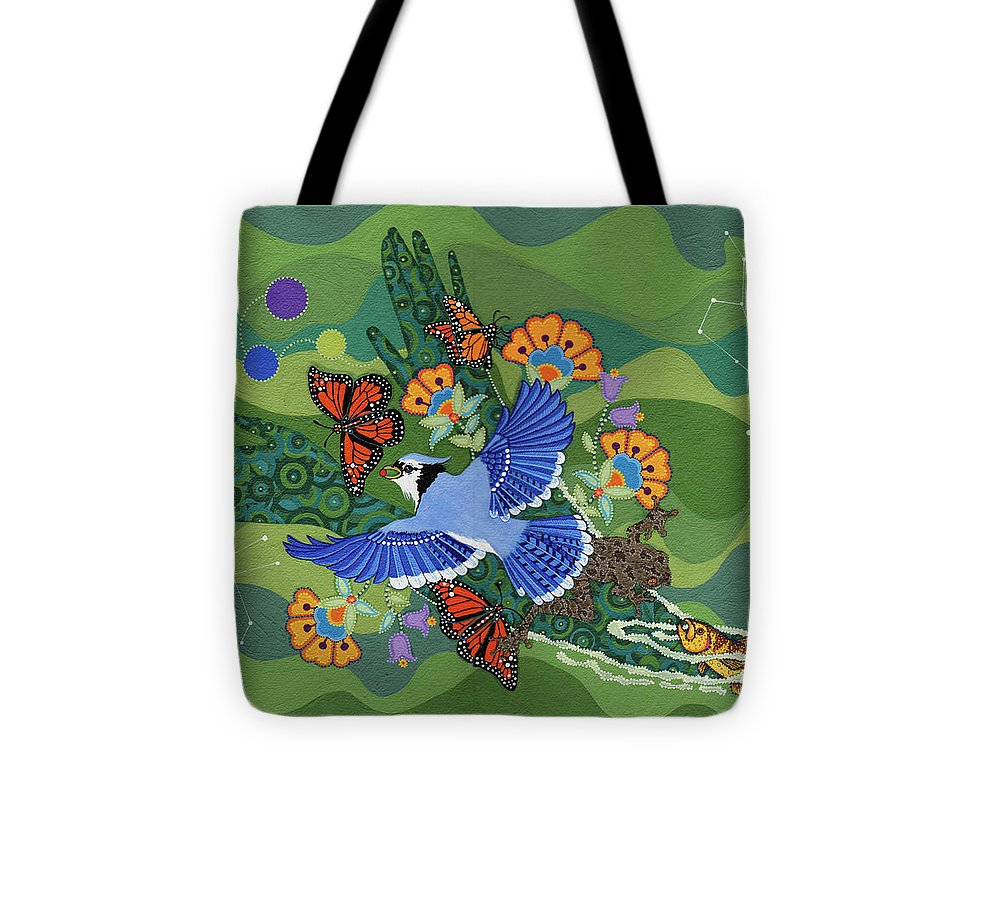 Water Tote Bag featuring the painting We Are One by Chholing Taha