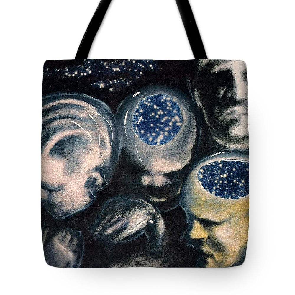 Universe Aura Thoughts Thinking Faces Mistery Tote Bag featuring the mixed media We Are Universe by Veronica Jackson