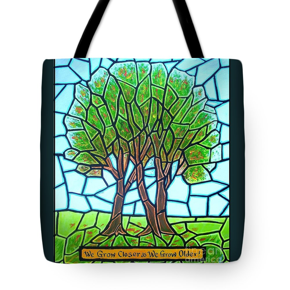 Aging Tote Bag featuring the painting We Grow Closer As We Grow Older by Jim Harris