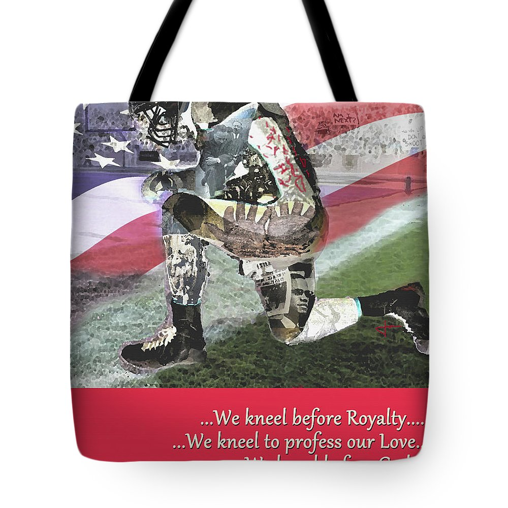 Kneel Tote Bag featuring the digital art We Kneel by Jorge Delara