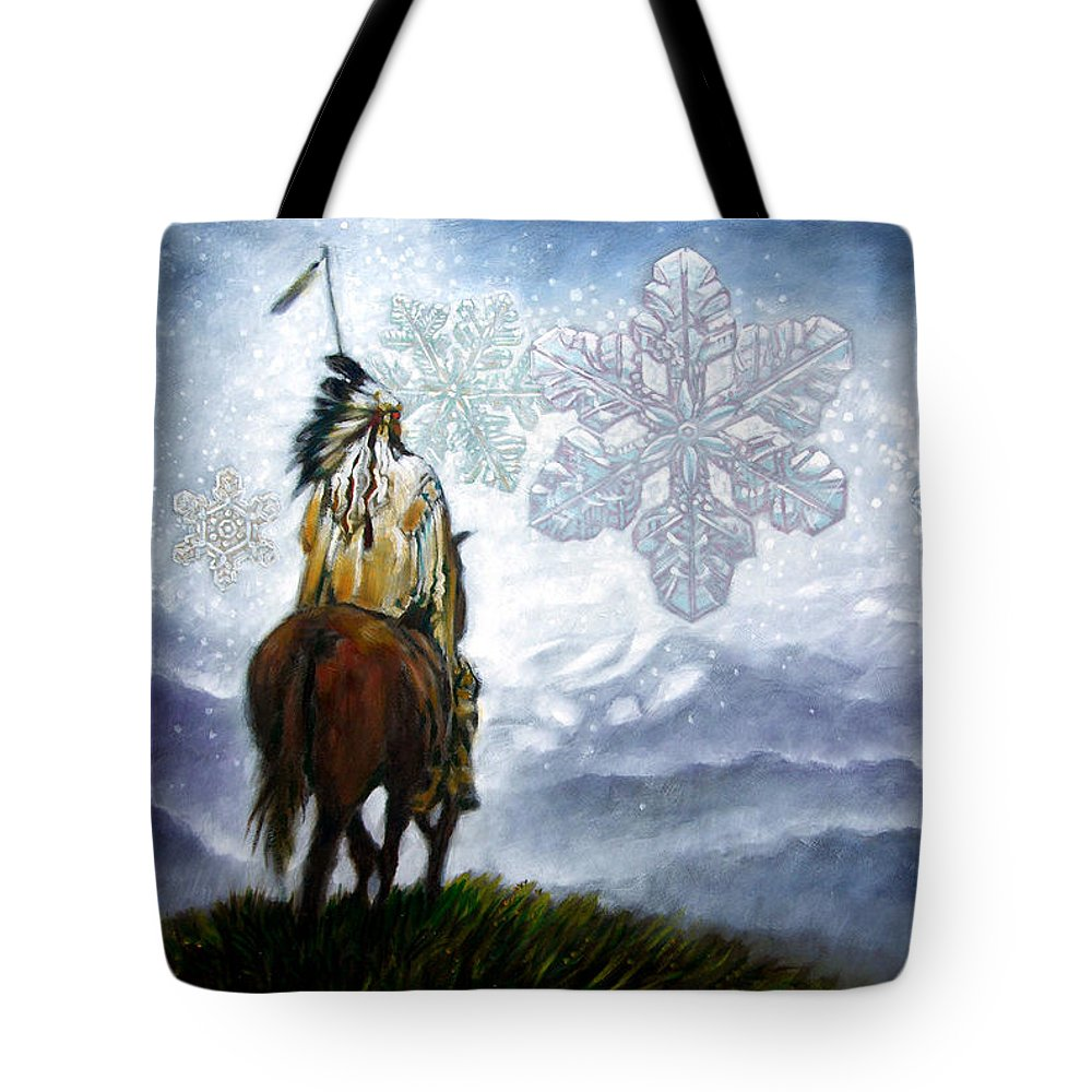 American Indian Tote Bag featuring the painting We Vanish Like the Snow Flake by John Lautermilch