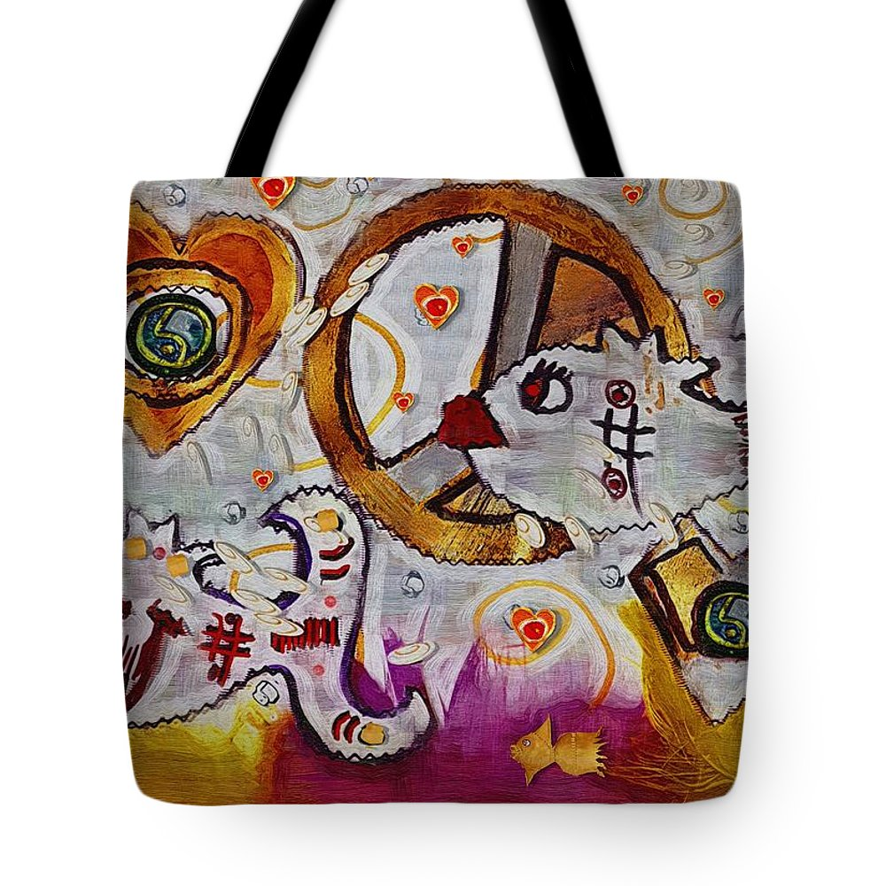 Seascape Tote Bag featuring the mixed media We Wont You To Clean Our Water With Love by Pepita Selles