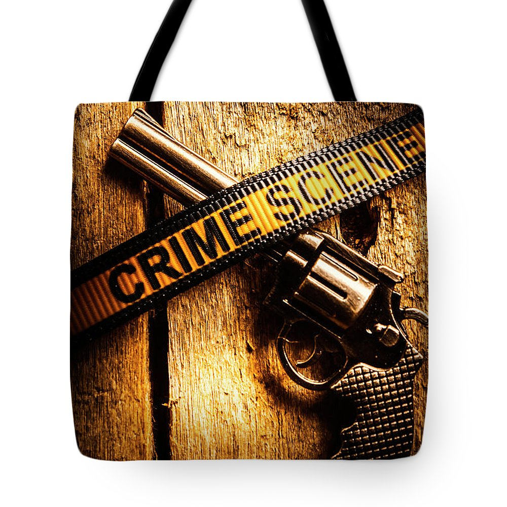 Evidence Tote Bag featuring the photograph Weapon Forensics by Jorgo Photography - Wall Art Gallery
